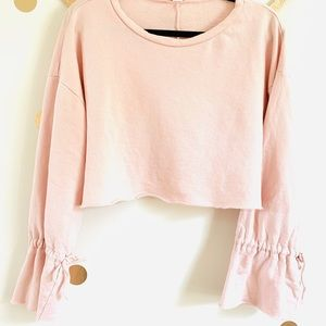 •Forever 21• Pink Bell Sleeve Cropped Crewneck